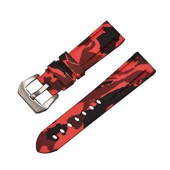 Резиновый ремешок для часов красный камуфляж с нержавеющей пряжкой размером от 20 мм до 24 мм