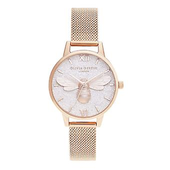 Olivia Burton Watches Ob16fb04 Glitter Dial Lucky Bee & Rose Gold Mesh Ladies Watch