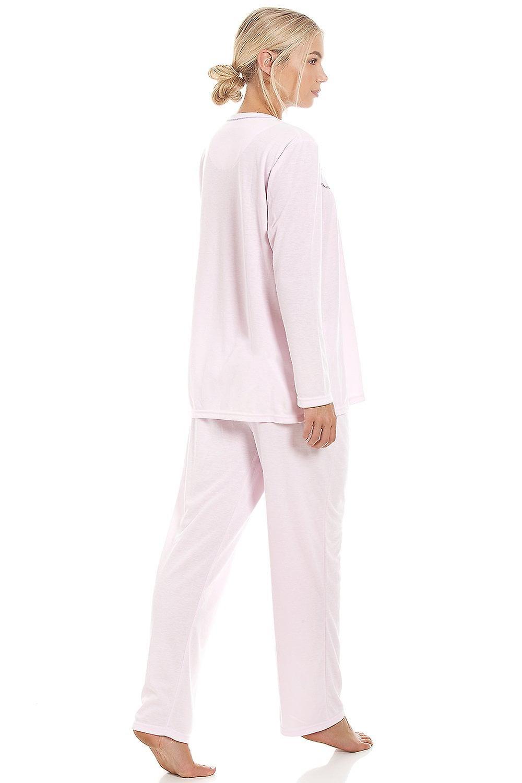 Camille Womens Classic Light Pink Long Sleeve Full Length Pyjama Set