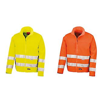 Result Core Mens High-Visibility Winter Blouson Softshell Jacket (Water Resistant & Windproof)