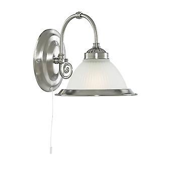 Sökarljus American Diner Satin Silver vägg ljus med syra ribbad glasskärm