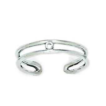 14k biele zlato CZ kubický zirkónia simulované Diamond nastaviteľné dvojité rad telo šperky Toe prsteň šperky Darčeky pre ženy