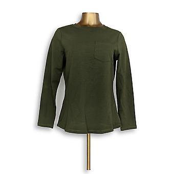 الدنيم وشركاه المرأة & apos;s أعلى الفرنسية النشطة تيري طويل الأكمام الأخضر A294042