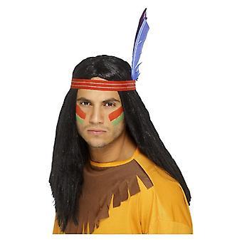 Mens Native American inšpirovaný Brave Parochňa Maškarné šaty Príslušenstvo