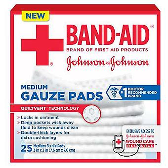 Band-Aid førstehjelp gasbind pads, middels, 3 tommers x 3 tommer, 25 ea