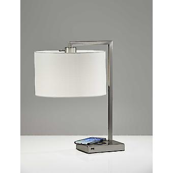 Enhanced Tech Charging Brushed Steel Metal Table Lamp