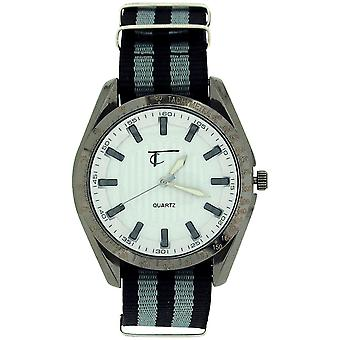 Time Collection Gents White Quartz Dial, Black and Grey Fabric Strap Watch TC41D