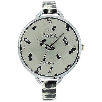 Zaza London Black & White Leopard Design Silver Dial Ladies Fashion Watch LLB872