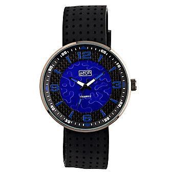 Eton Mens Horloge, Zwarte Siliconen band, Blauwe Wijzerplaat - 3101G-BL