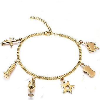 Elegantes joyas masónicas doradas encantos pulseras tobillo orden de la estrella oriental