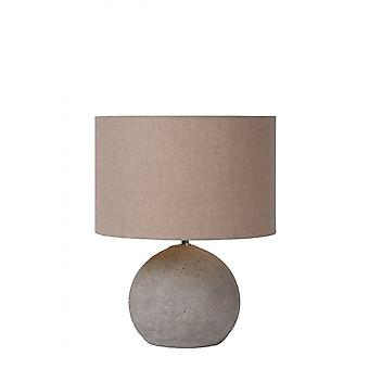 Lucide Boyd Cottage Round Concrete Taupe And Grey Table Lamp