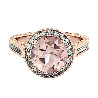 Natural peach/pink 2.60 CTW VS Morganite Ring with Diamonds Rose Gold 14K Halo Filigree Vintage