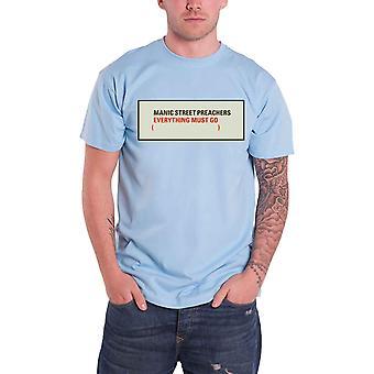 Manic Street Preachers T Shirt Everything Must Go Logo Official Mens New Blue