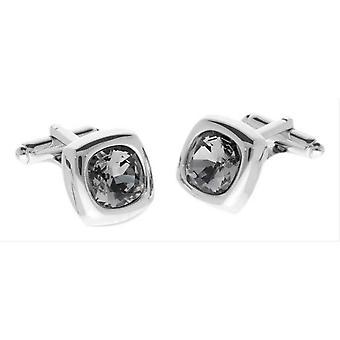Duncan Walton Krista Diamond Swarovski Crystal Cufflinks - Silver/Black