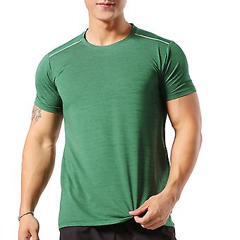 Allthemen Men's Round Neck Elastic Quick-Drying Thin Short T-Shirt
