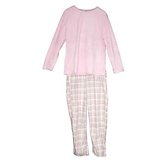 Collections Etc Women's Pajama Set Fleece With Plaid Pants Pink