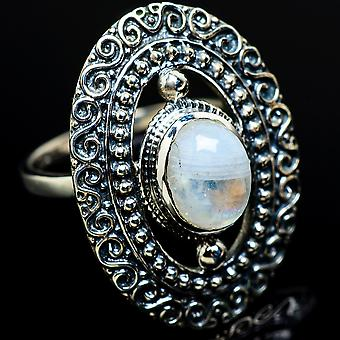 Rainbow Moonstone Ring Size 8 (925 Sterling Silver)  - Handmade Boho Vintage Jewelry RING7585