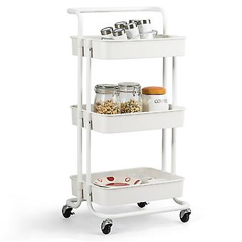 3-Tier Storage Rolling Trolley Cart Storage Shelf 4 Wheels Bathroom Kitchen New