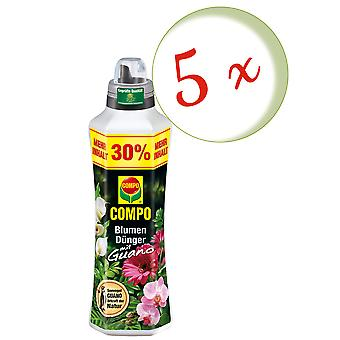 Sparset: 5 x COMPO flower fertilizer with guano, 1.3 liters