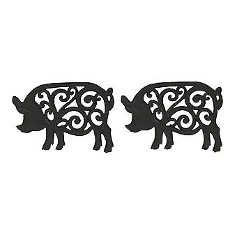 Set of 2 Decorative Cast Iron Pig Trivets