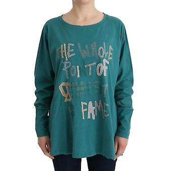 Galliano Green Cotton Oversized Sweater