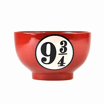 Harry Potter Bowl Platform 9 3/4 new Official Red Cereal Stoneware