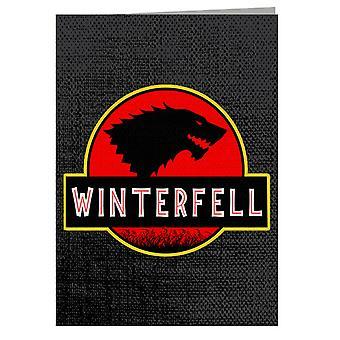 Stark Winterfell Jurassic Park Game Of Thrones Greeting Card