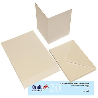 Craft UK Cards & Envelopes C6 Pearlescent White