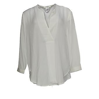 Masseys Women's Top 3/4 Sleeved V-Neckline Hem Detail White
