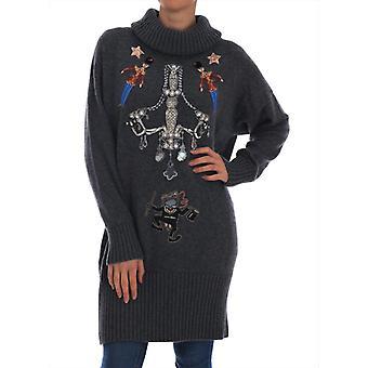 Dolce & Gabbana Fairy Tale Crystal Gray Cashmere Sweater