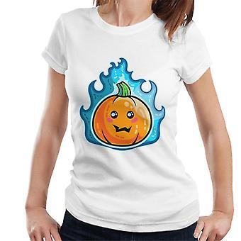 Blue Flaming Cute Pumpkin Kawaii Women's T-Shirt