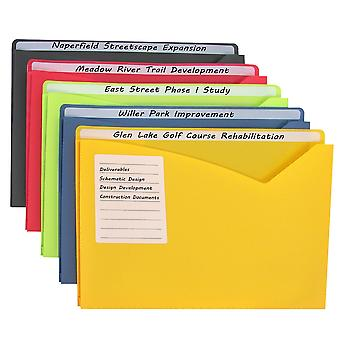 63060, Write-on Poly File Jackets, Assorted, 11 X 8 1/2, 25/BX, 63060
