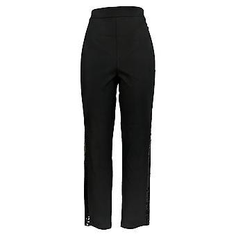 Joan Rivers Femmes-apos;s Pantalon de cheville w/Sequin Strip Noir A299548