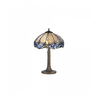 Cofee 2 Light Tree Like Table Lamp E27 With 40cm Tiffany Shade, Blue/clear Crystal/aged Antique Brass