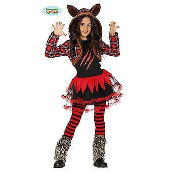 Schottischer Wolfsmädchen für Kinder Werwolf Halloween Kostüm Wölfin
