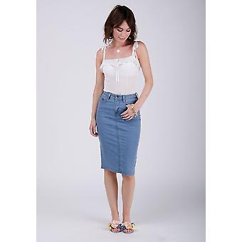 Kay mid-length denim skirt - palewash