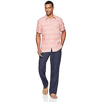 28 Palms Men's Relaxed-Fit 100% Linnen Reverse Print Shirt, Washed Coral Tile,...