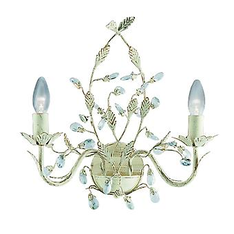 Searchlight Almandite - 2 light interior vela pared luz de oro, crema con cristales floral hojas diseño, E14