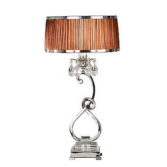 1 Lätt medium bordslampa polerad nickelplatt med choklad nyans, E14