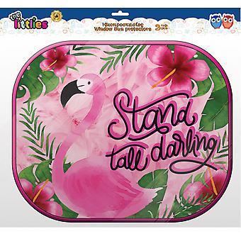 zonneschermen Flamingo meisjes 44 cm mesh 2 stuks