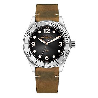 Michel Herbelin | Mens | Trophy | Black Dial | Brown Leather Strap | 12260/T14BR Watch