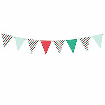 Flag Paper Bunting for Christmas in Red White and Green 1.3m