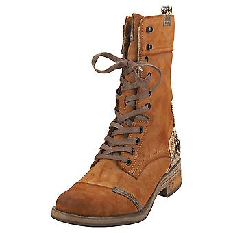 Mustang Side Zip Boots Womens Biker Boots in Chestnut