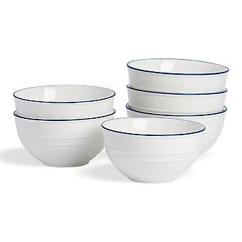 Nicola Spring 6 Piece Country Farmhouse White Pasta Salad Bowl Set with Blue Rims - 18cm