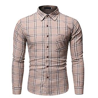 YANGFAN Men'camisa xadrez casual jaqueta de lapela de manga longa