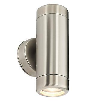 Saxby Lighting Atlantis - Ulkoseinävalaisin IP65 7W Marine Grade Harjattu ruostumaton teräs & kirkas lasi 2 kevyt himmennettävä IP65 - GU10