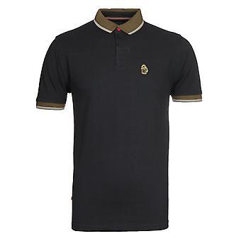 Luke 1977 Regular Fit getipt Zwart & Khaki Polo Shirt
