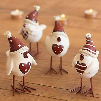 Natal Robin coração pássaro com chapéu Xmas vermelho branco chique Shabby decoração