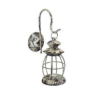 Rustic Distressed Metal Wall Mounted Railroad Lantern Hanging Candle Sconce, White