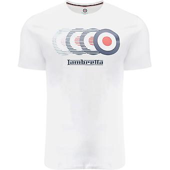 Lambretta Mens Target Fade Crew Neck Retro Cotton T-Shirt Top Tee - White